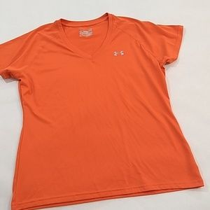 Under Armour Orange Tee T-Shirt size L Heat Gear